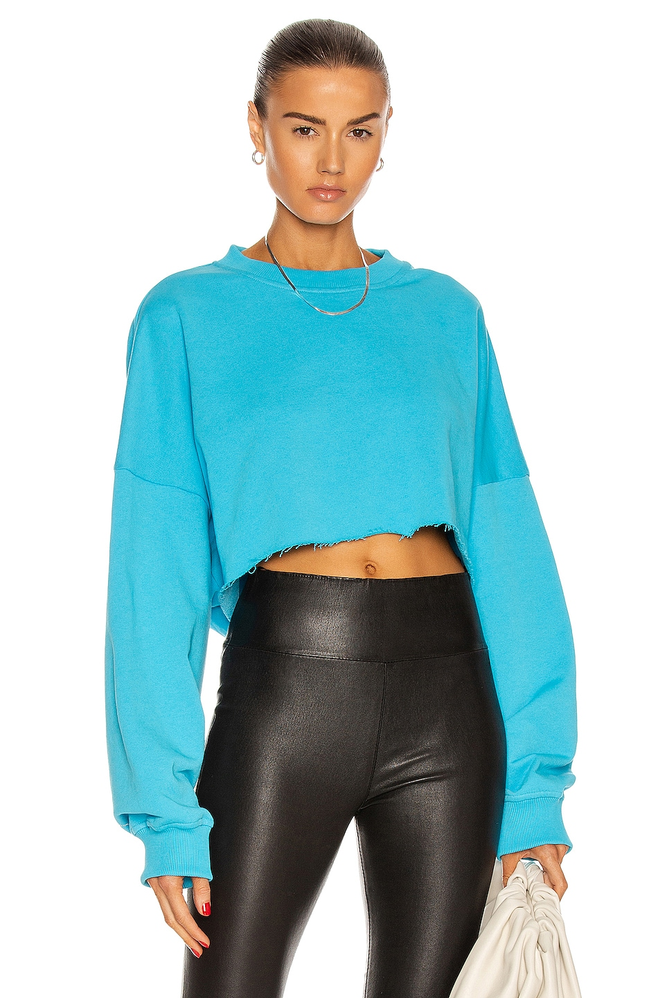 Image 1 of Alexandre Vauthier Strass Cropped Sweatshirt in Azure
