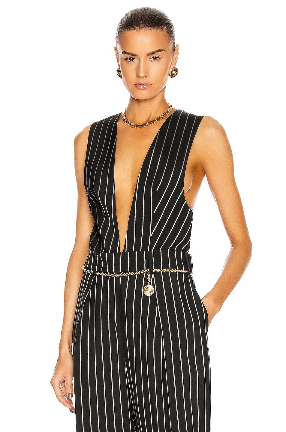 Image 1 of Alexandre Vauthier Pin Stripe Vest in Black