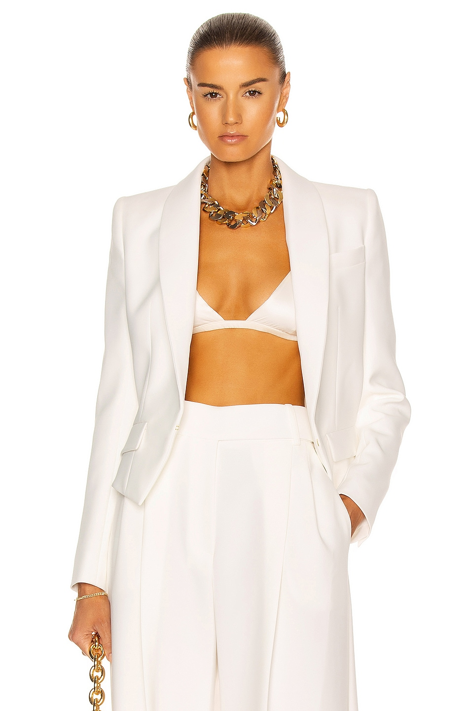 Image 1 of Alexandre Vauthier Cropped Blazer in Off White