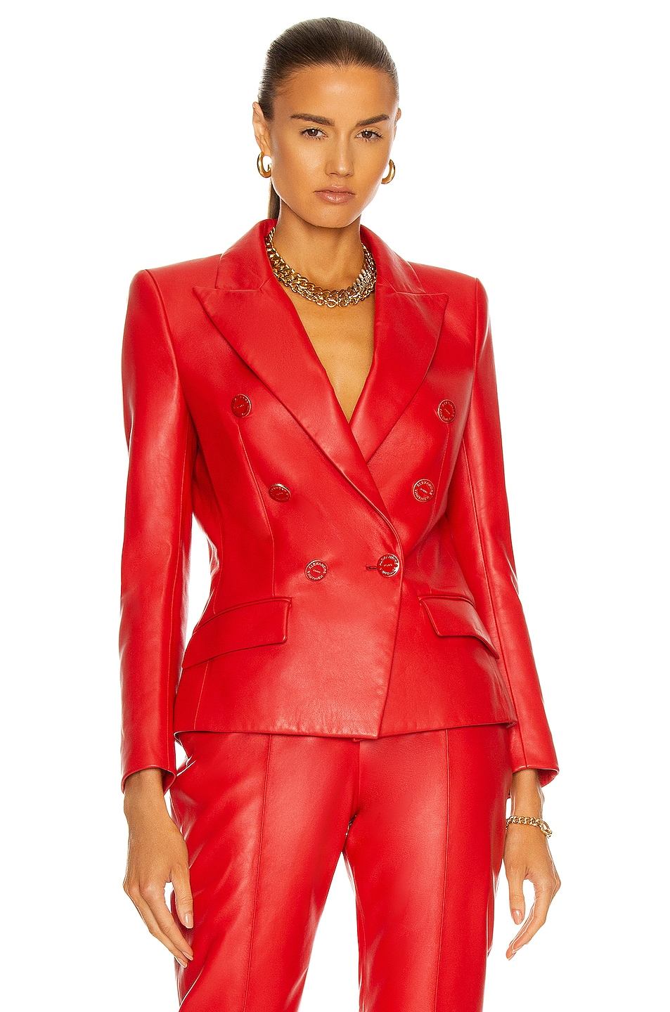Image 1 of Alexandre Vauthier Leather Jacket in Red