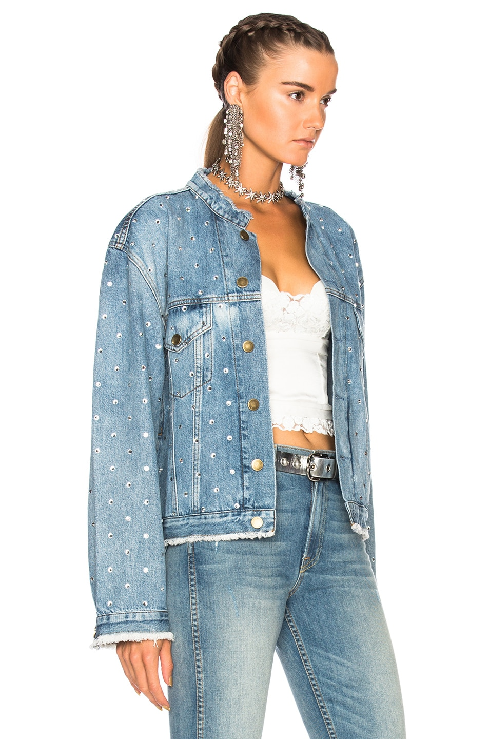 Image 2 of Alexandre Vauthier Crystal Studded Denim Jacket in Sky