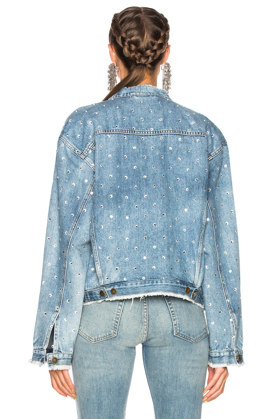 Image 3 of Alexandre Vauthier Crystal Studded Denim Jacket in Sky