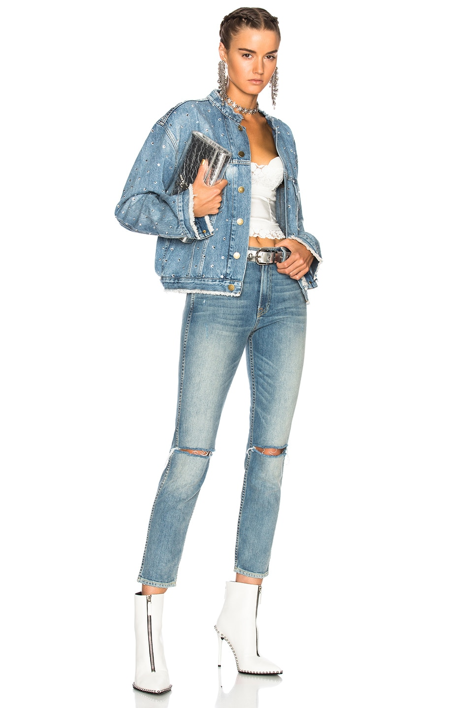 Image 4 of Alexandre Vauthier Crystal Studded Denim Jacket in Sky
