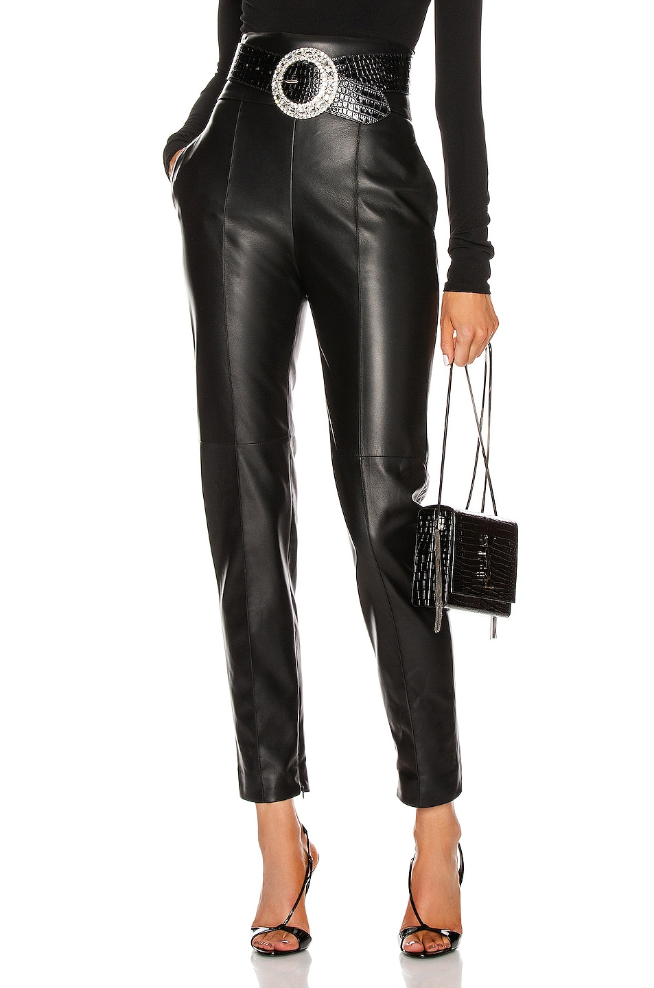 Image 1 of Alexandre Vauthier Leather Pant in Black
