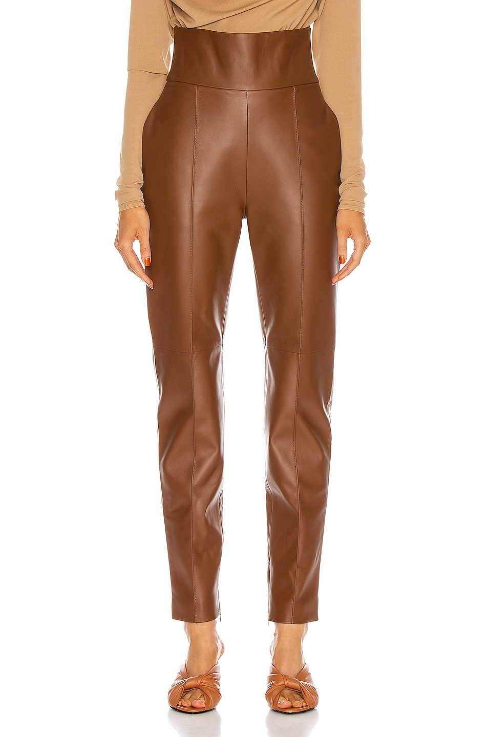 Image 1 of Alexandre Vauthier Leather Pant in Spice