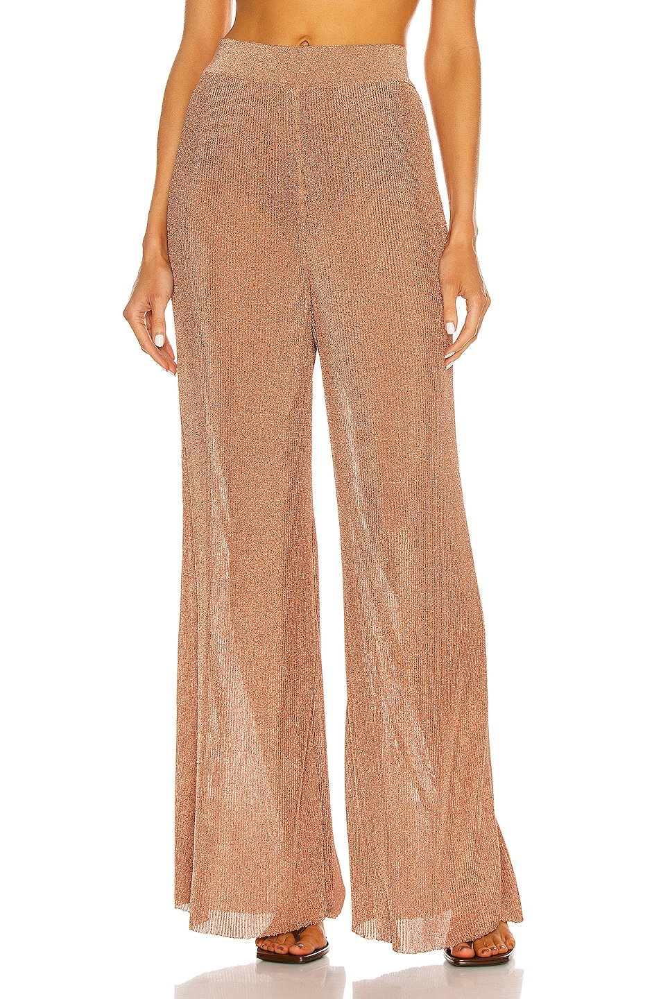 Image 1 of Alexandre Vauthier Knitted Wide Leg Pant in Coral