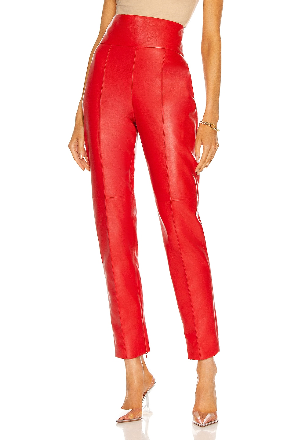 Image 1 of Alexandre Vauthier Leather Pant in Red