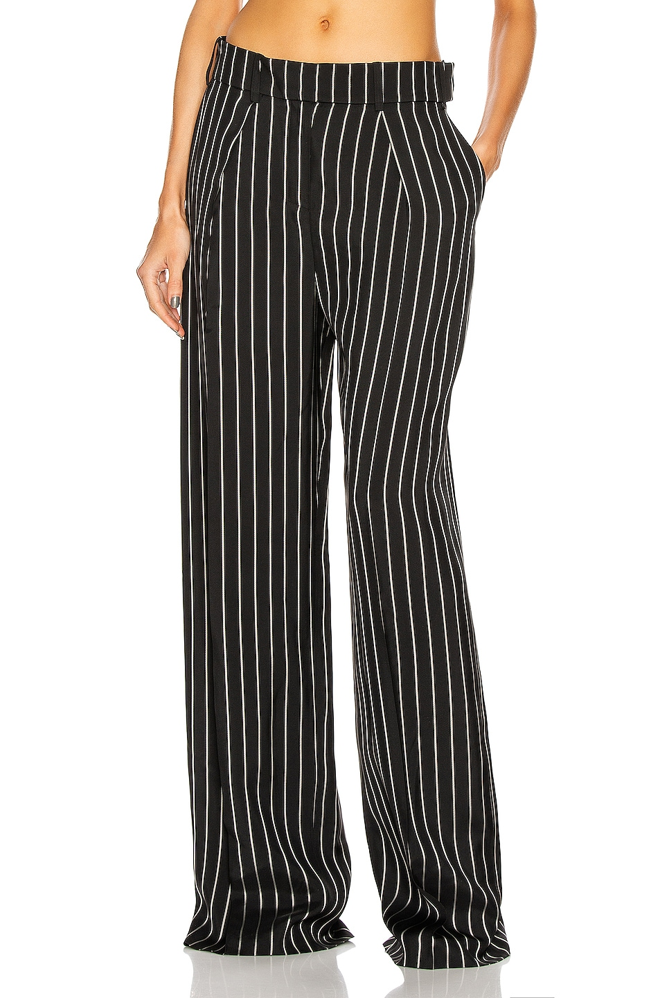 Image 1 of Alexandre Vauthier Pin Stripe Wide Leg Pants in Black