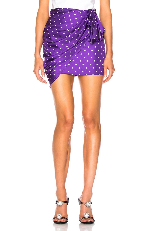 Image 1 of Alexandre Vauthier Dot Twill Wrap Mini Skirt in Purple