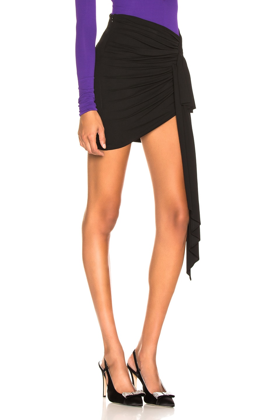 Image 2 of Alexandre Vauthier Stretch Jersey Ruched Mini Skirt in Black