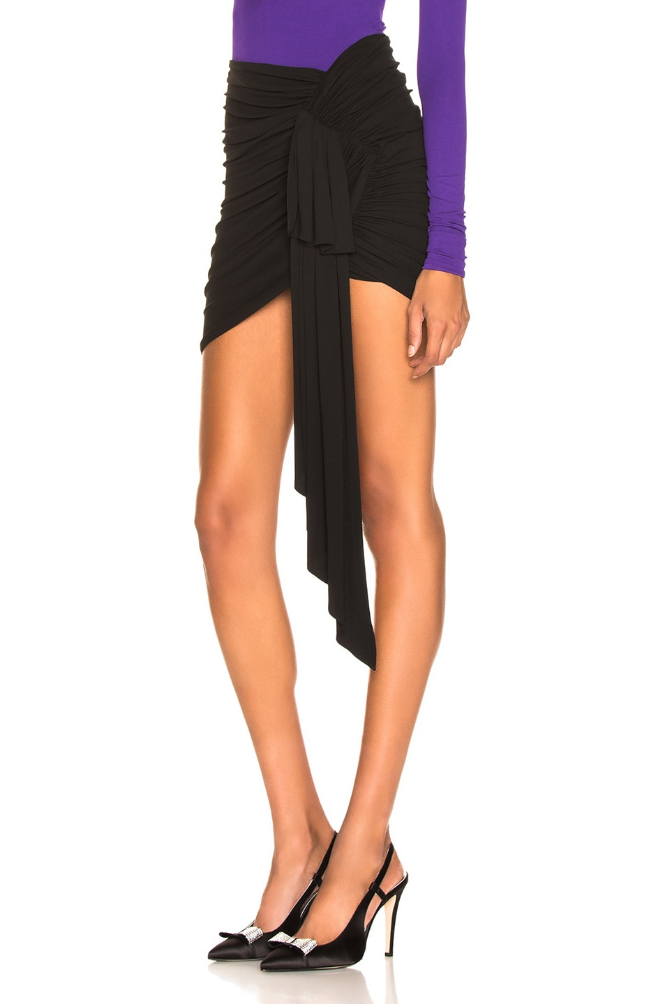 Image 3 of Alexandre Vauthier Stretch Jersey Ruched Mini Skirt in Black