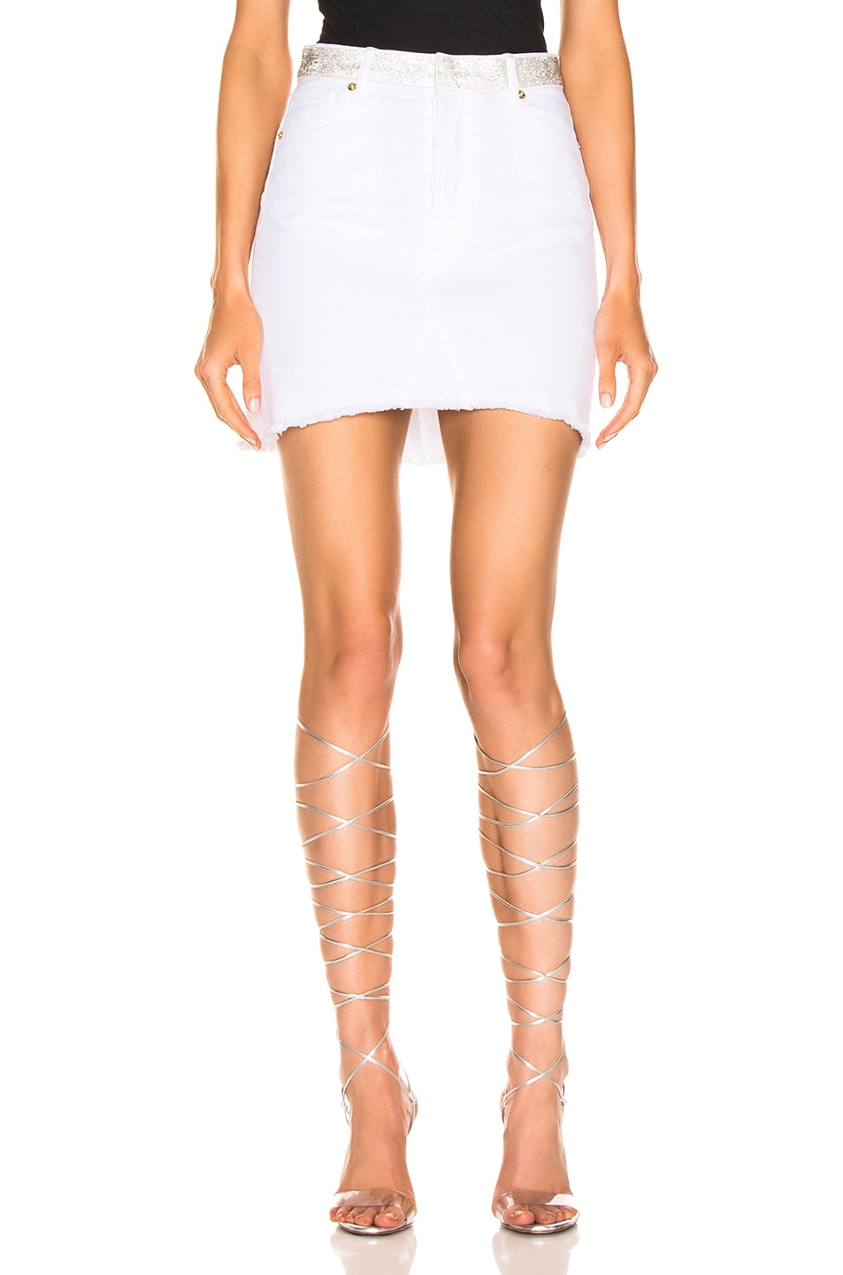 Image 1 of Alexandre Vauthier Denim Mini Skirt in White