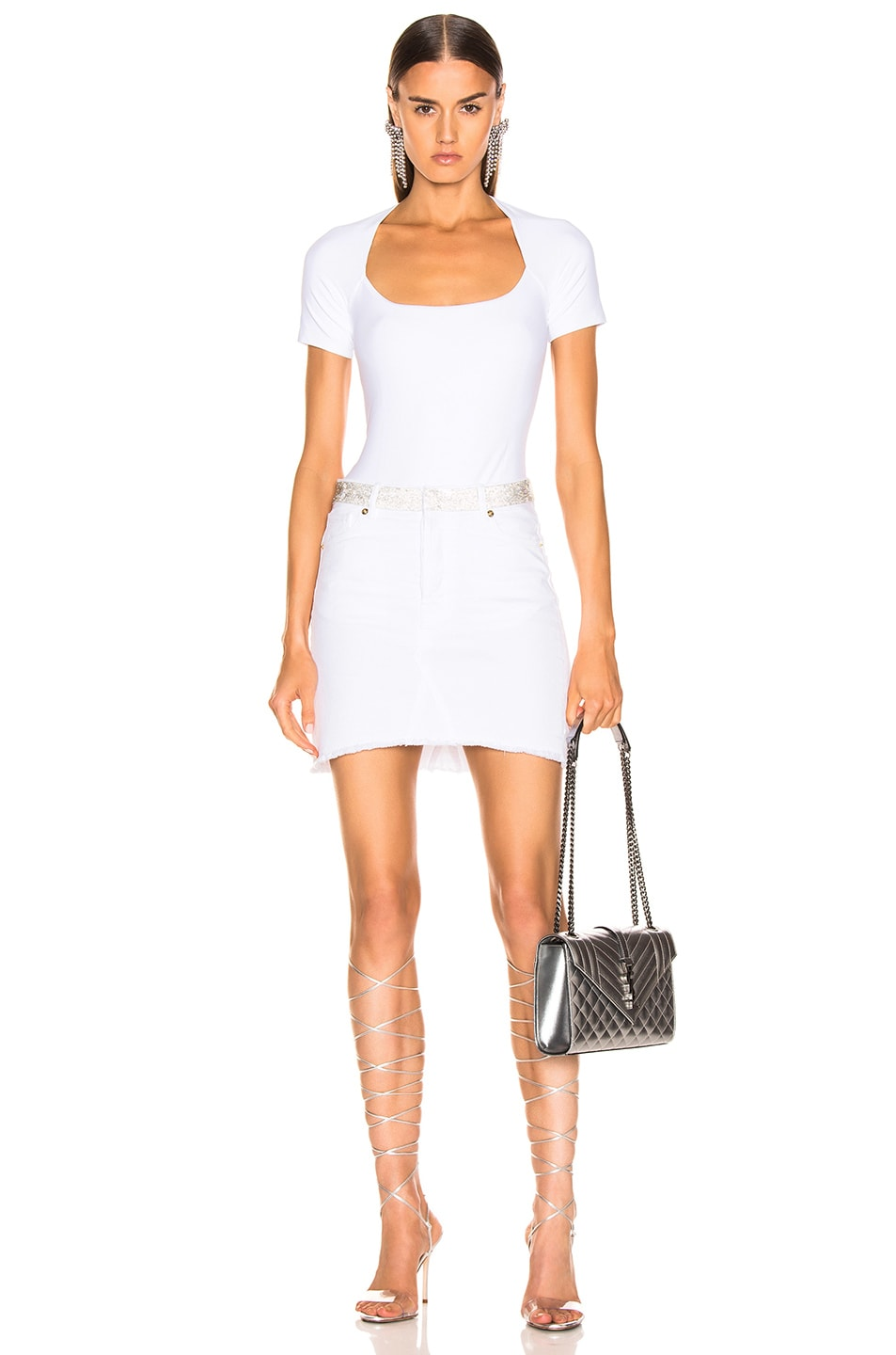 Image 4 of Alexandre Vauthier Denim Mini Skirt in White