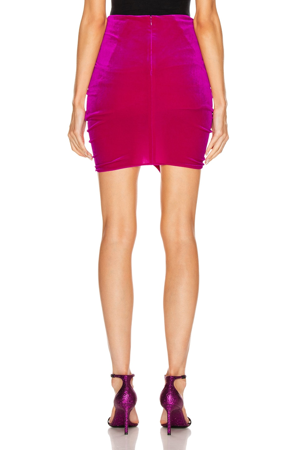 Image 3 of Alexandre Vauthier for FWRD Ruched Velvet Mini Skirt in Fuchsia