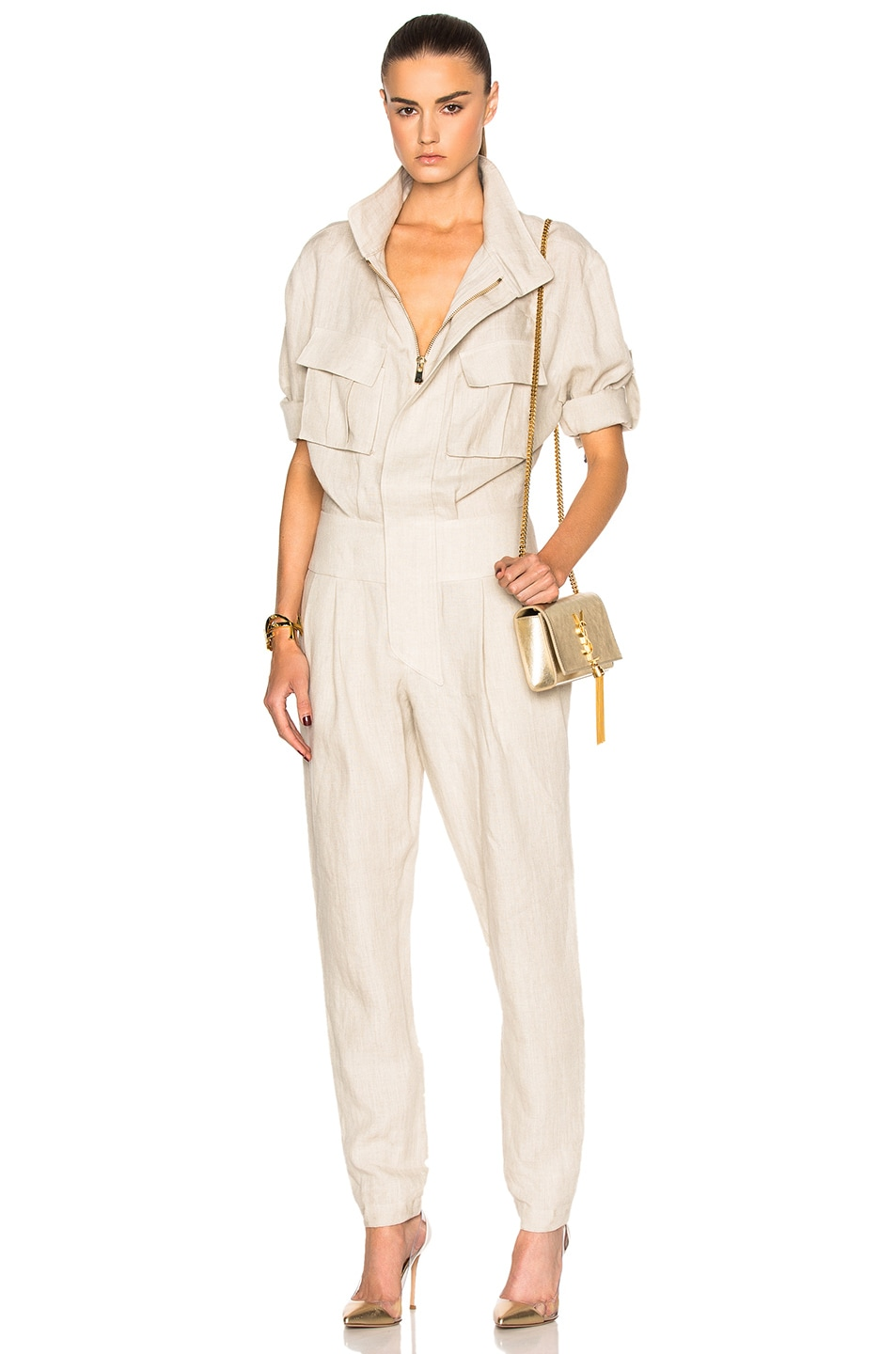 Image 1 of Alexandre Vauthier Linen Jumpsuit in Sand