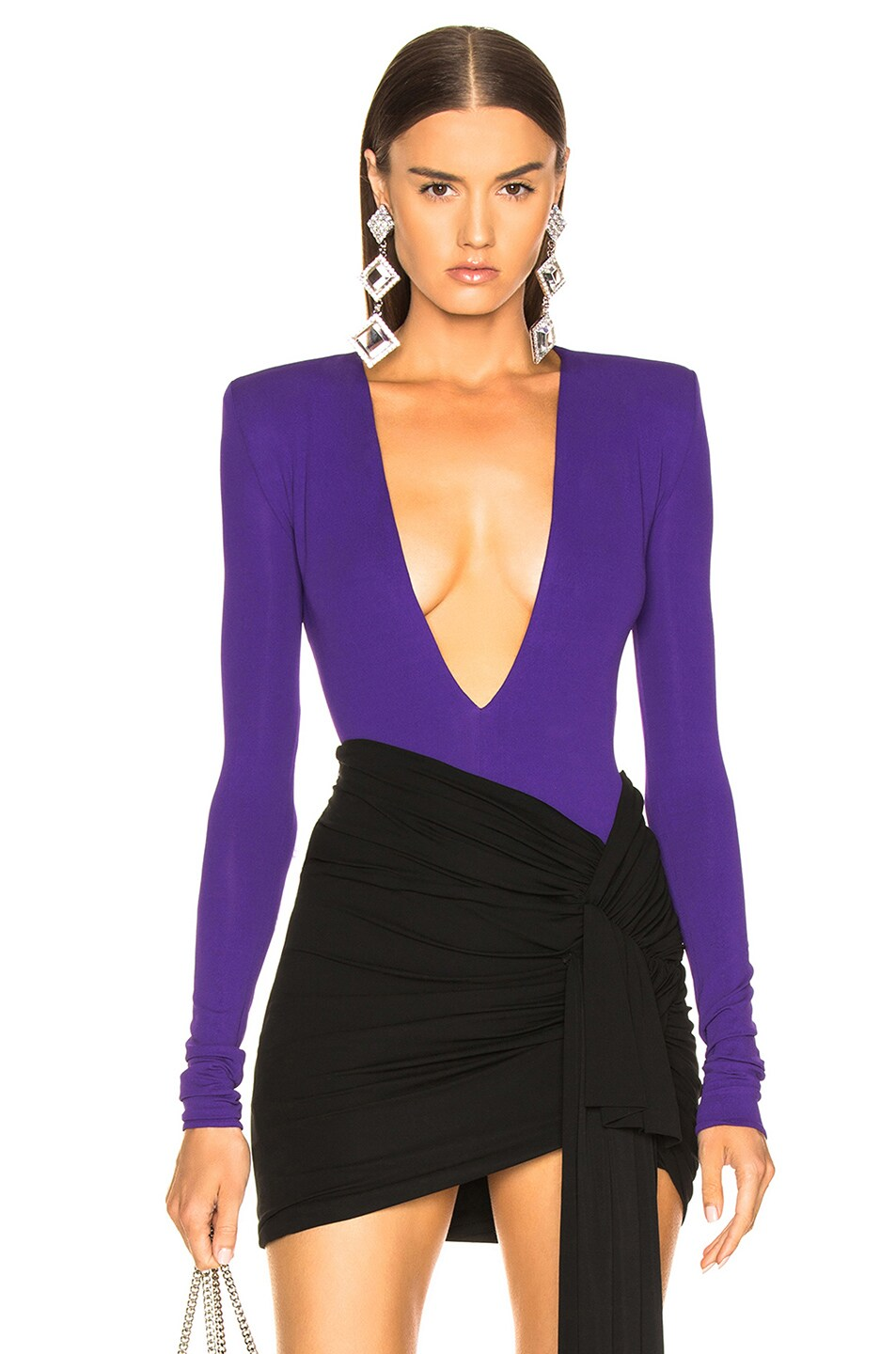 Image 1 of Alexandre Vauthier Stretch Jersey Plunging Bodysuit in Purple