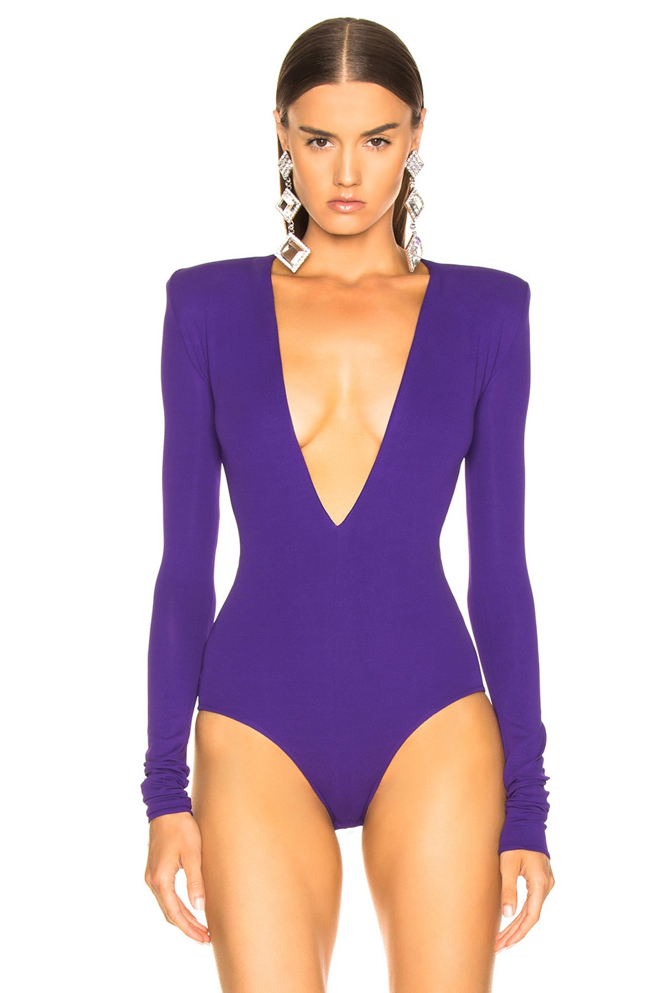 Image 2 of Alexandre Vauthier Stretch Jersey Plunging Bodysuit in Purple