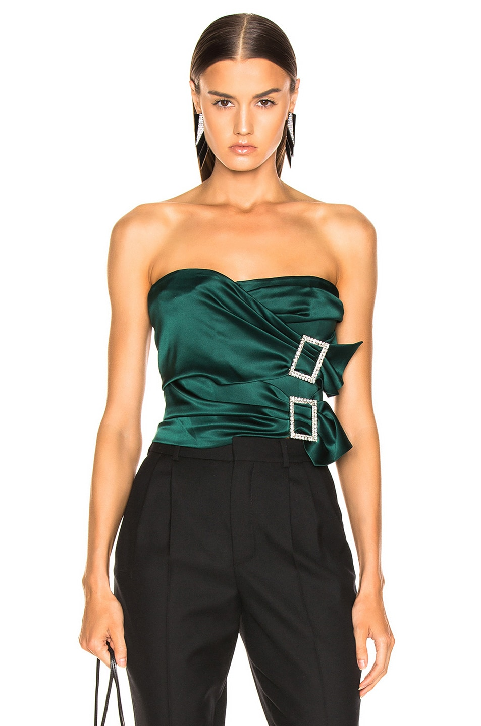 Image 1 of Alexandre Vauthier Stretch Satin Buckle Strapless Top in Forest