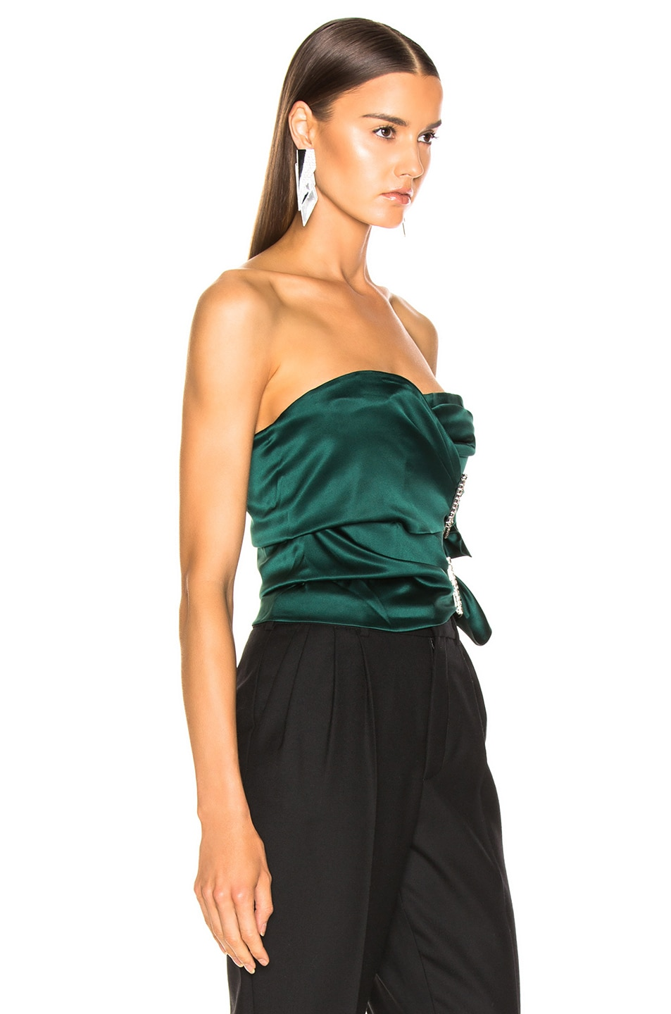 Image 2 of Alexandre Vauthier Stretch Satin Buckle Strapless Top in Forest