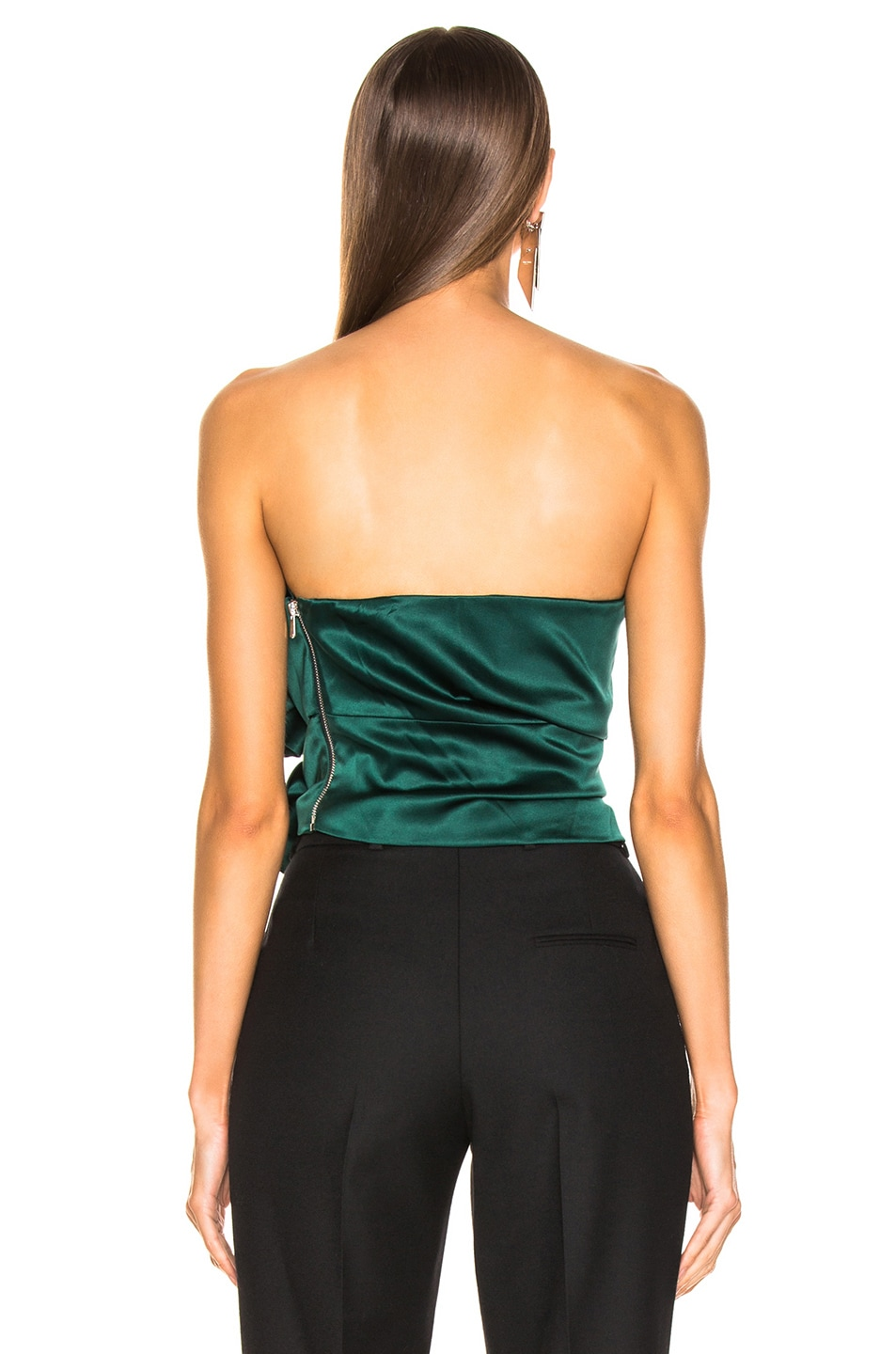 Image 4 of Alexandre Vauthier Stretch Satin Buckle Strapless Top in Forest