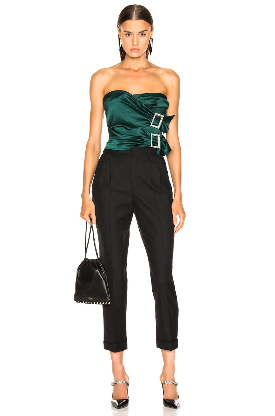 Image 5 of Alexandre Vauthier Stretch Satin Buckle Strapless Top in Forest