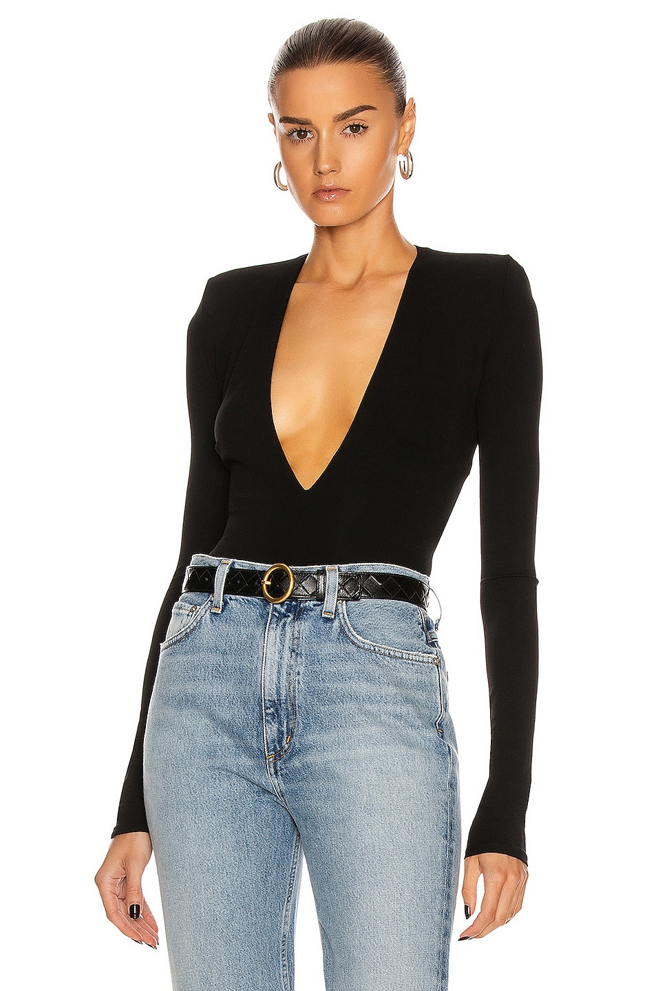 Image 1 of Alexandre Vauthier Long Sleeve Jersey Bodysuit in Black