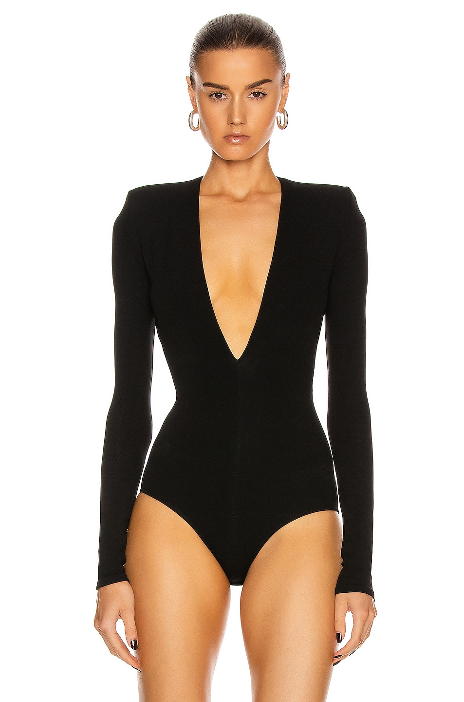 Image 2 of Alexandre Vauthier Long Sleeve Jersey Bodysuit in Black