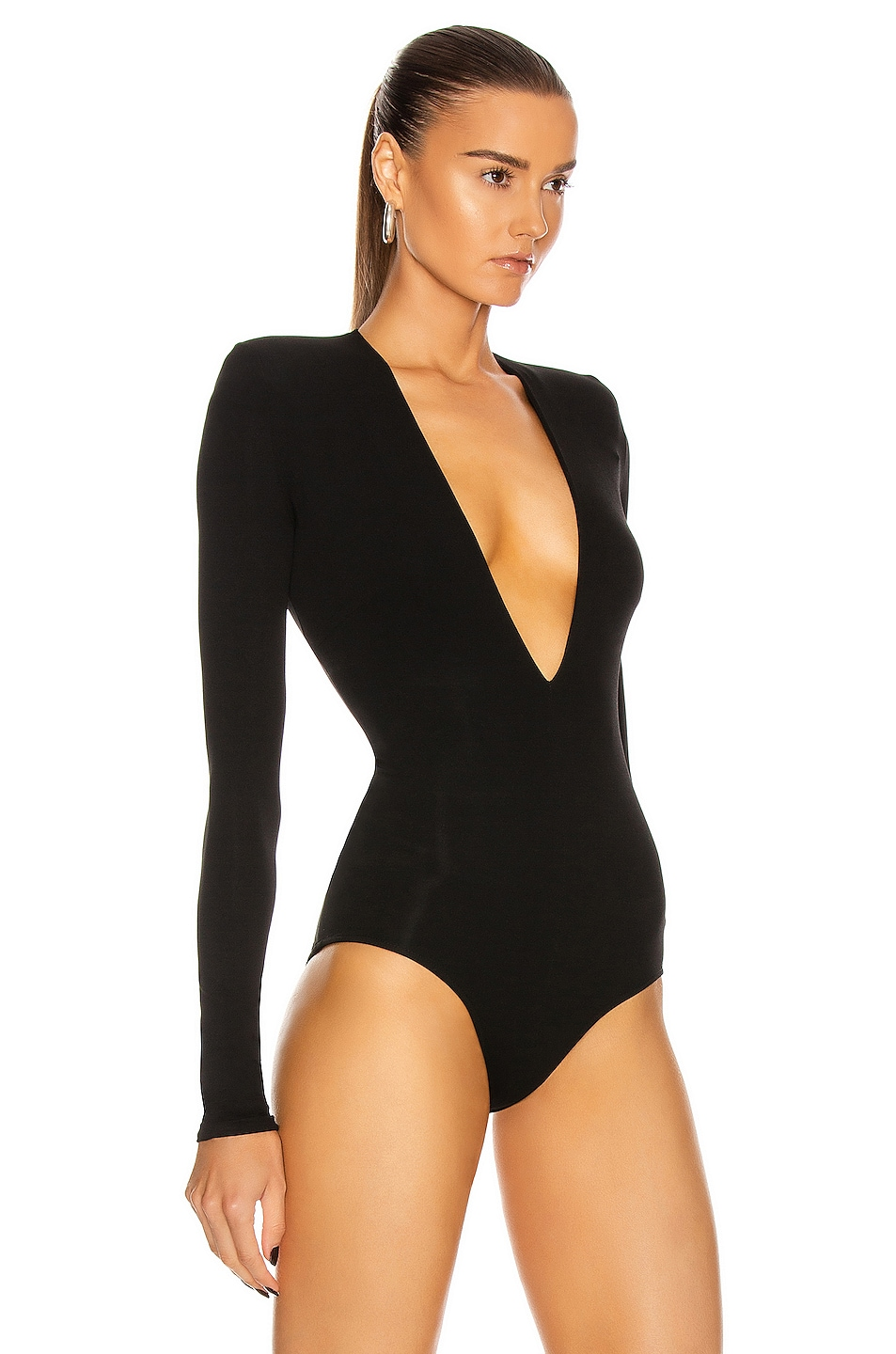 Image 3 of Alexandre Vauthier Long Sleeve Jersey Bodysuit in Black