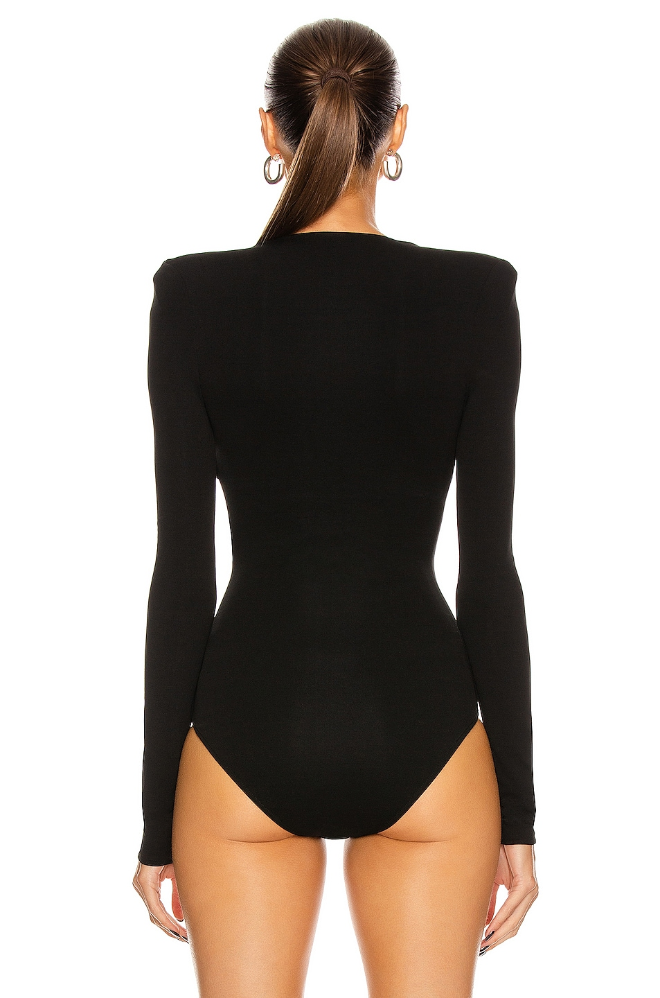 Image 4 of Alexandre Vauthier Long Sleeve Jersey Bodysuit in Black
