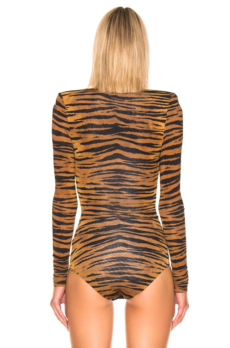 Image 4 of Alexandre Vauthier Plunging Bodysuit in Tiger