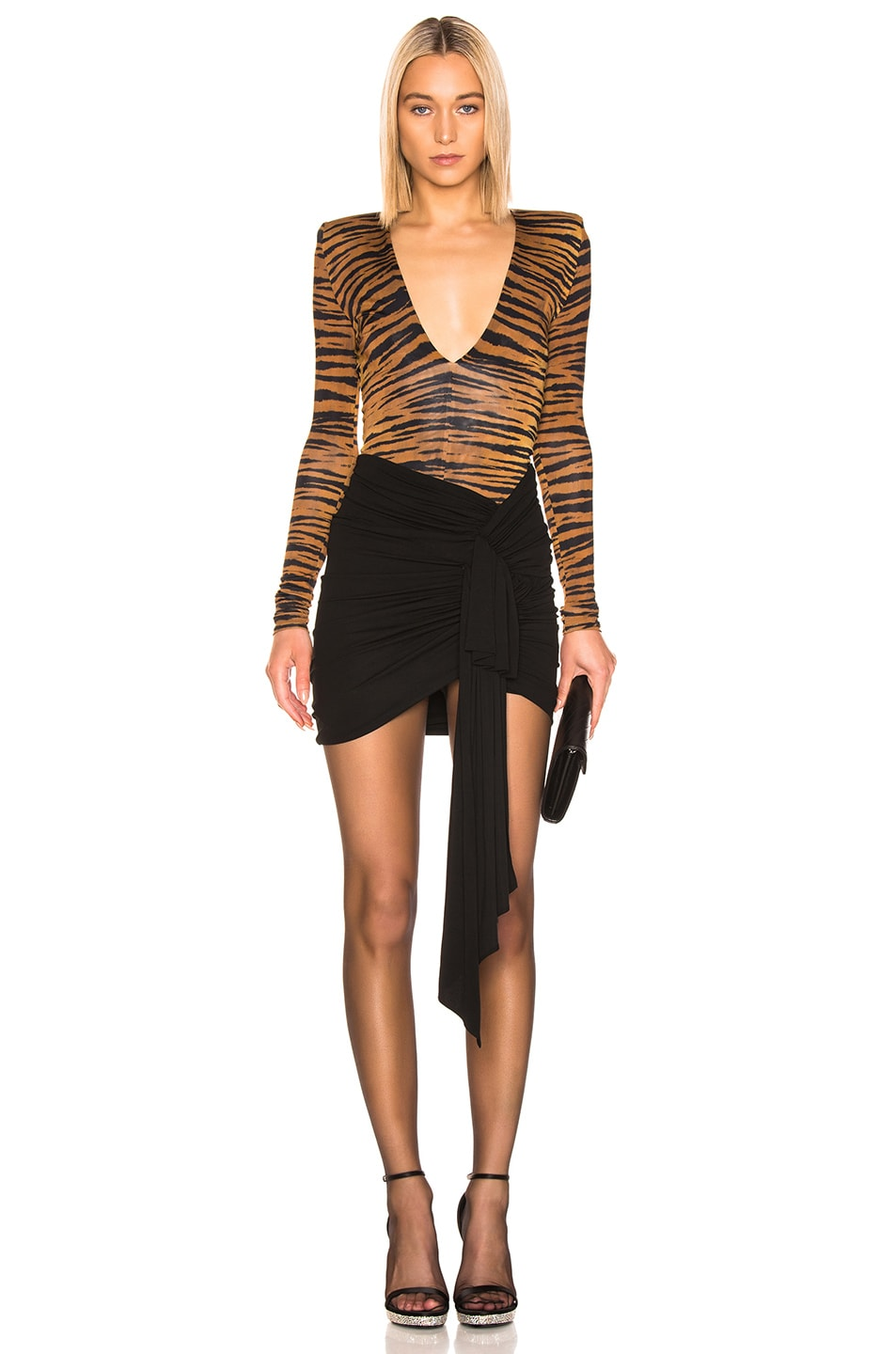 Image 5 of Alexandre Vauthier Plunging Bodysuit in Tiger