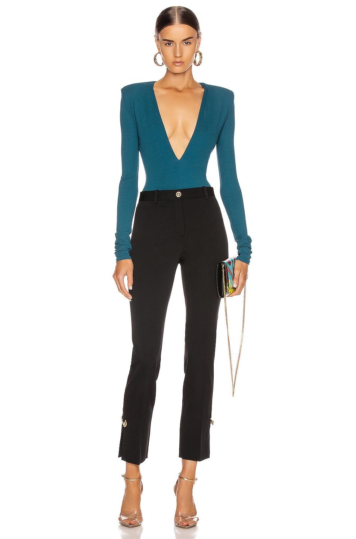 Image 5 of Alexandre Vauthier Long Sleeve Jersey Bodysuit in Cobalt