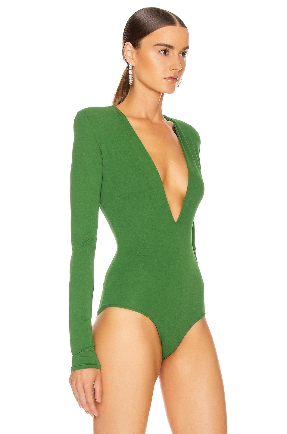 Image 3 of Alexandre Vauthier Plunging Bodysuit in Moss