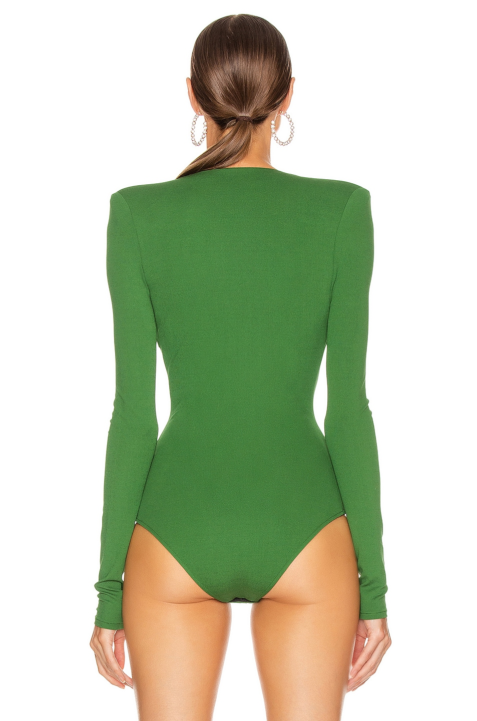 Image 4 of Alexandre Vauthier Plunging Bodysuit in Moss