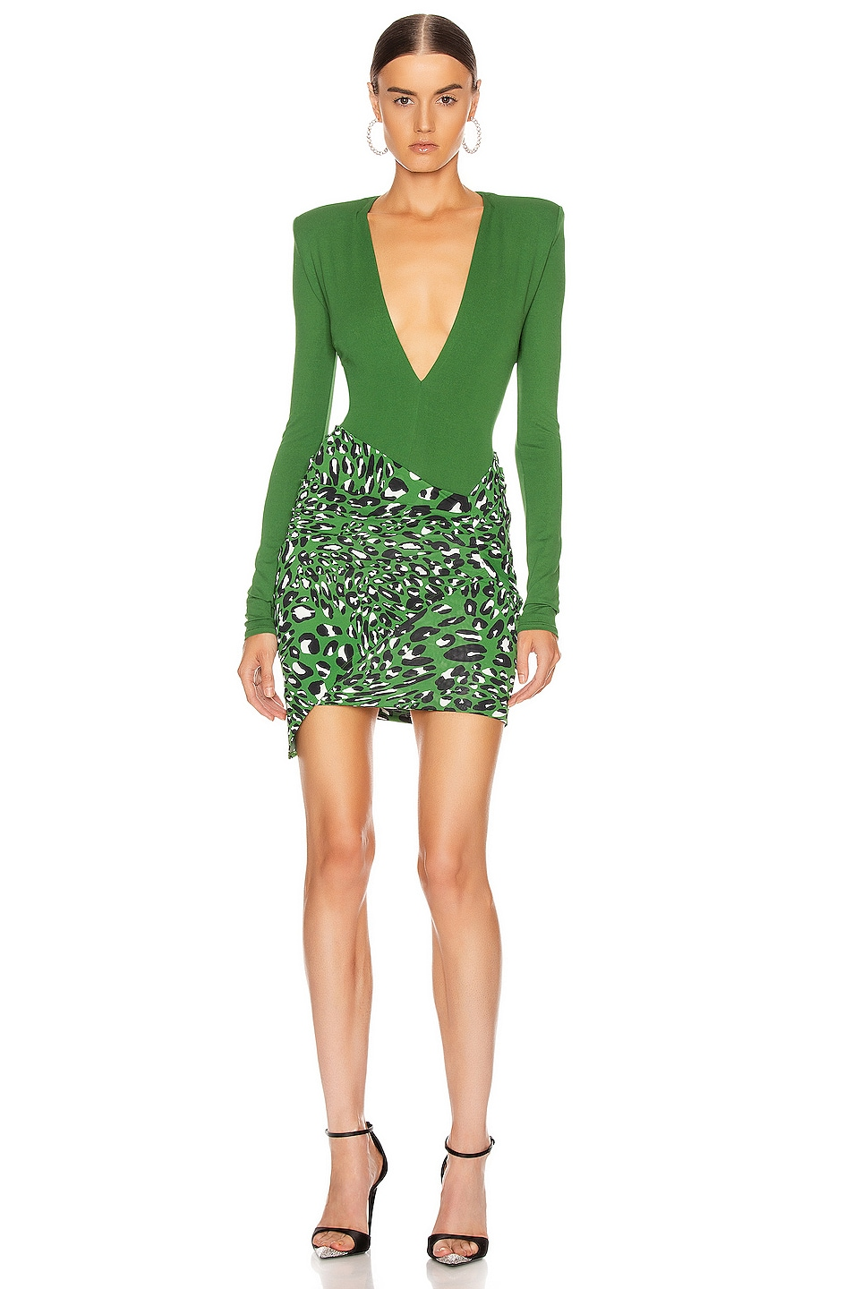 Image 5 of Alexandre Vauthier Plunging Bodysuit in Moss