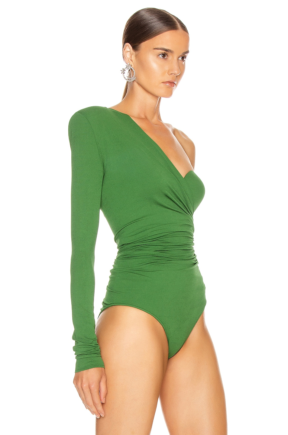 Image 3 of Alexandre Vauthier One Shoulder Bodysuit in Moss