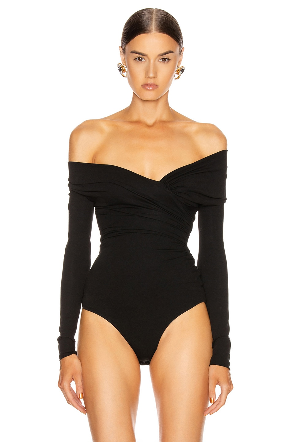 Image 2 of Alexandre Vauthier Stretch Jersey Bodysuit in Black