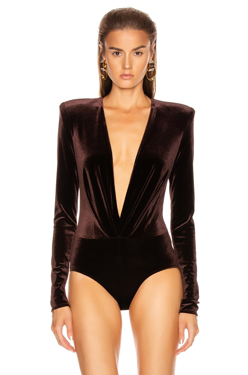 Image 2 of Alexandre Vauthier Velvet Jersey Bodysuit in Chocolate