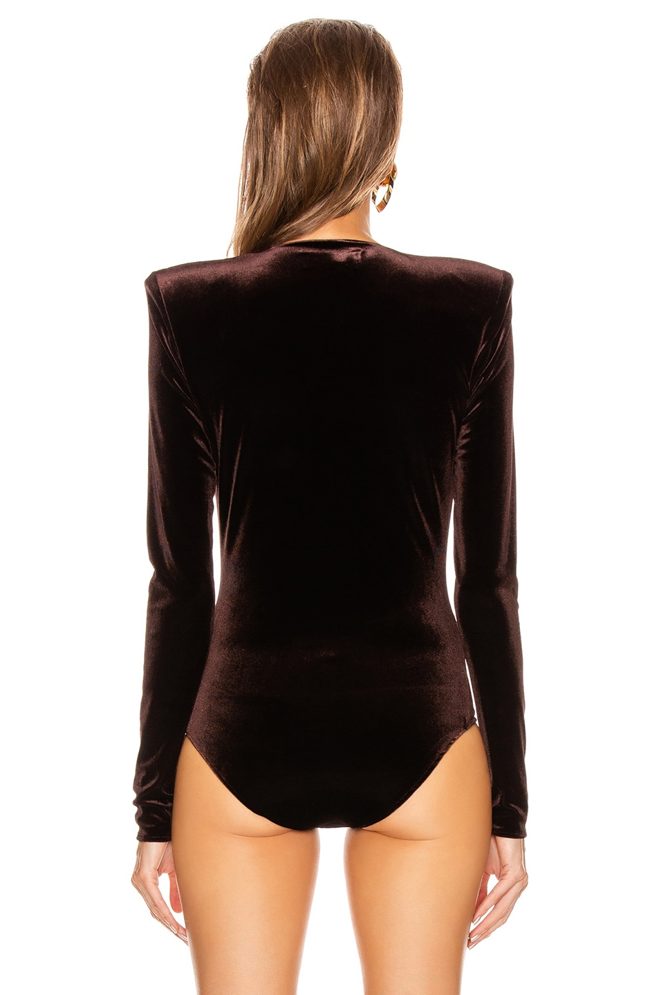 Image 4 of Alexandre Vauthier Velvet Jersey Bodysuit in Chocolate