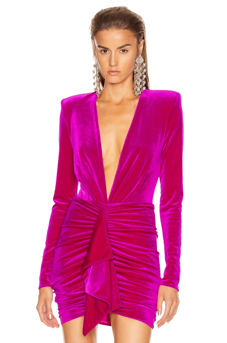 Image 1 of Alexandre Vauthier for FWRD Plunging Velvet Bodysuit in Fuchsia