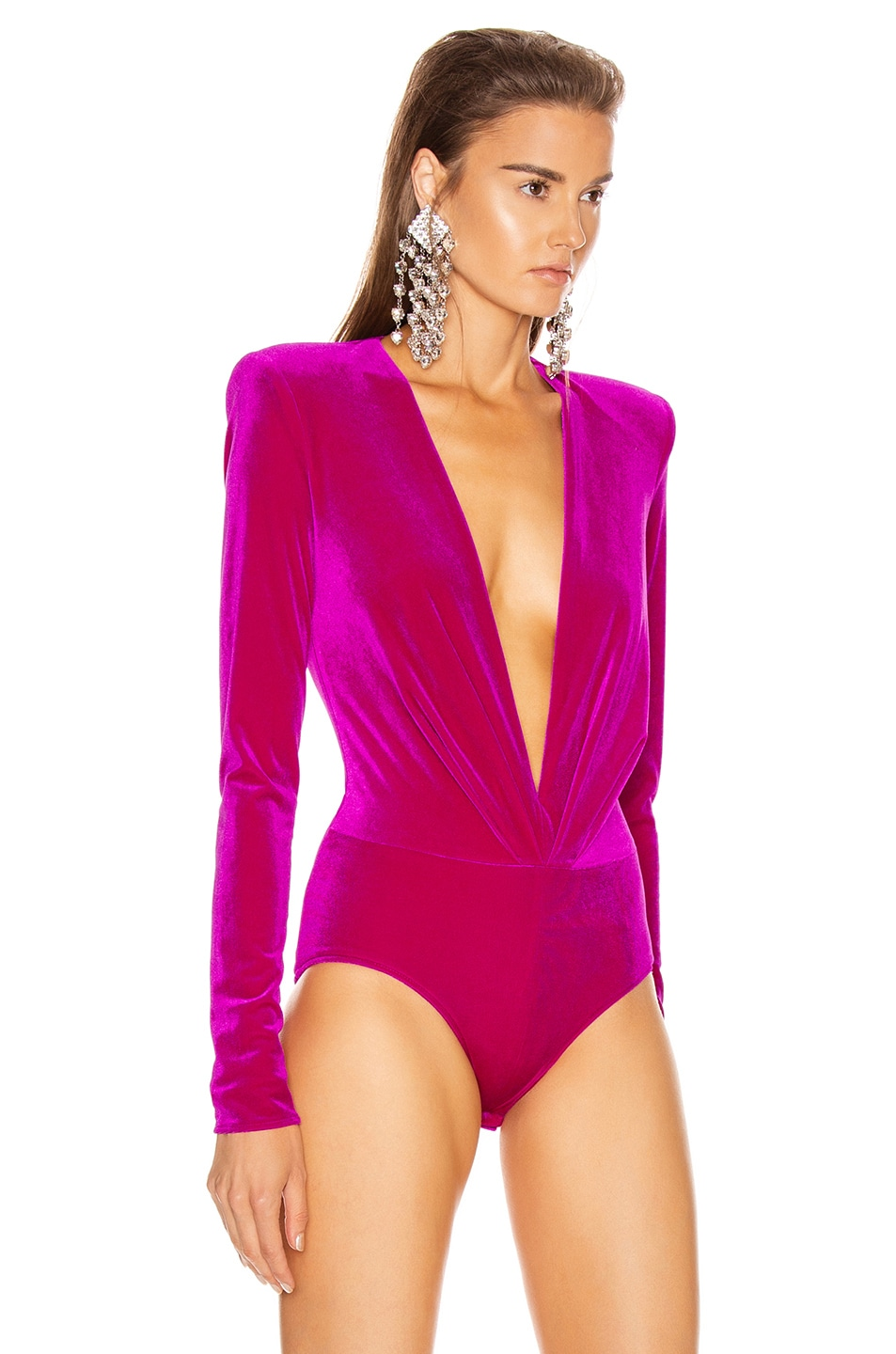 Image 3 of Alexandre Vauthier for FWRD Plunging Velvet Bodysuit in Fuchsia