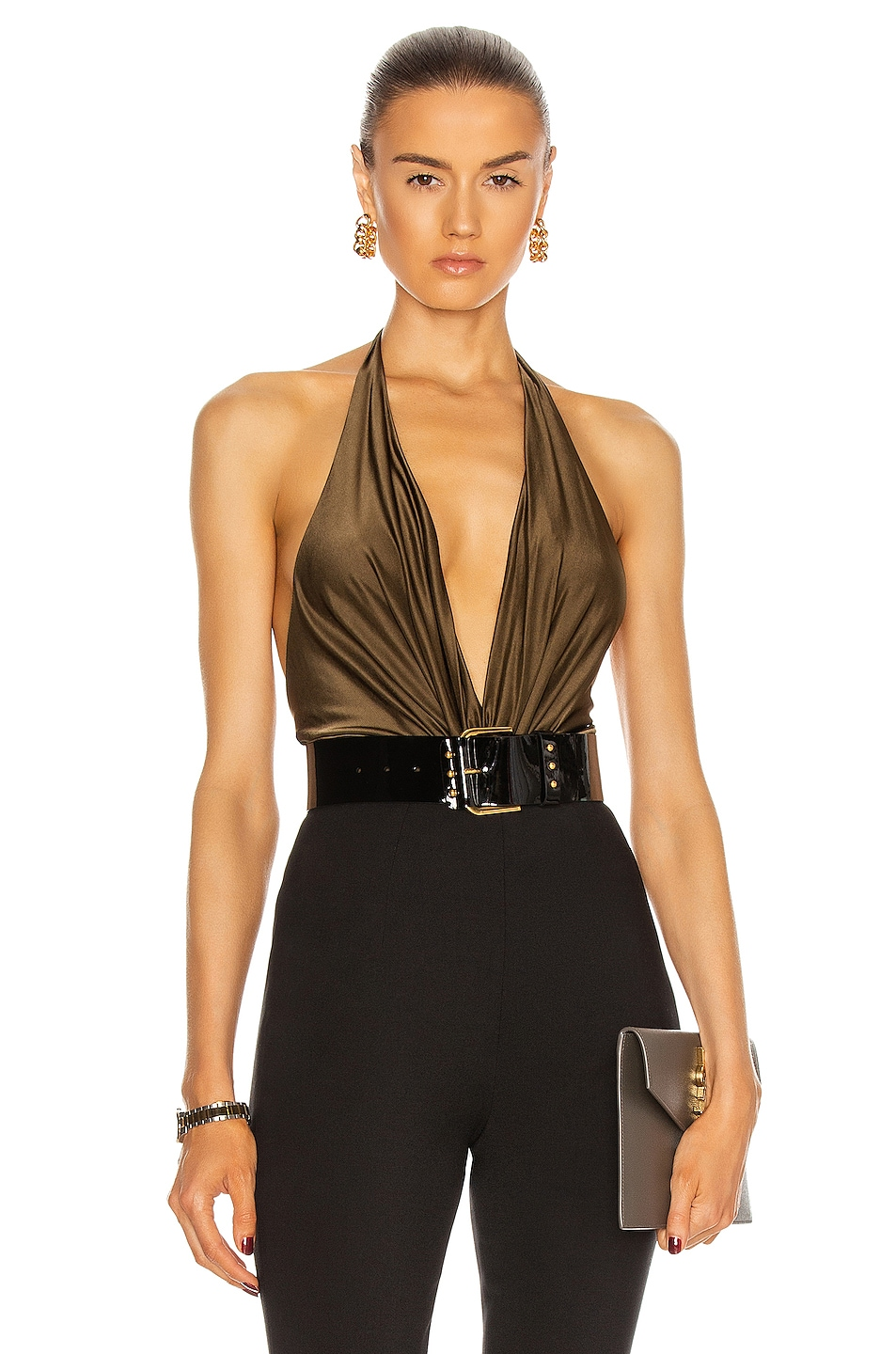 Image 1 of Alexandre Vauthier Plunging Sleeveless Bodysuit in Bronze