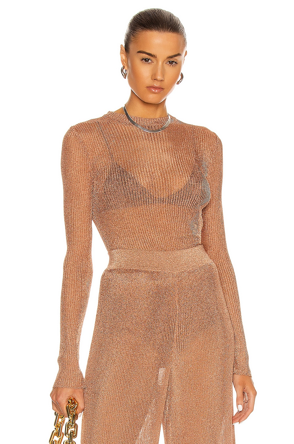 Image 1 of Alexandre Vauthier Knitted Top in Coral
