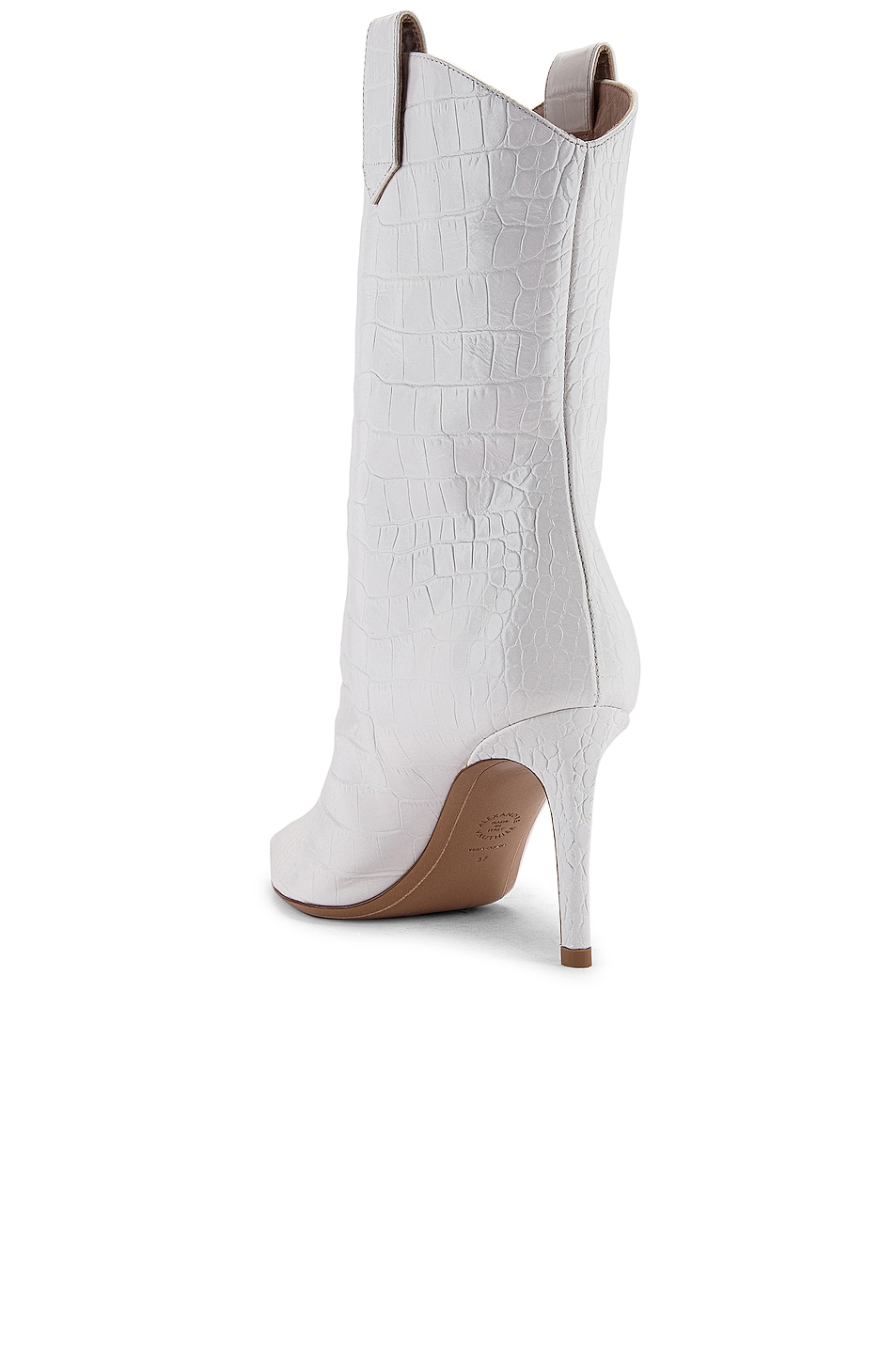 Image 3 of Alexandre Vauthier Wayne 80 Croco Boot in Off White