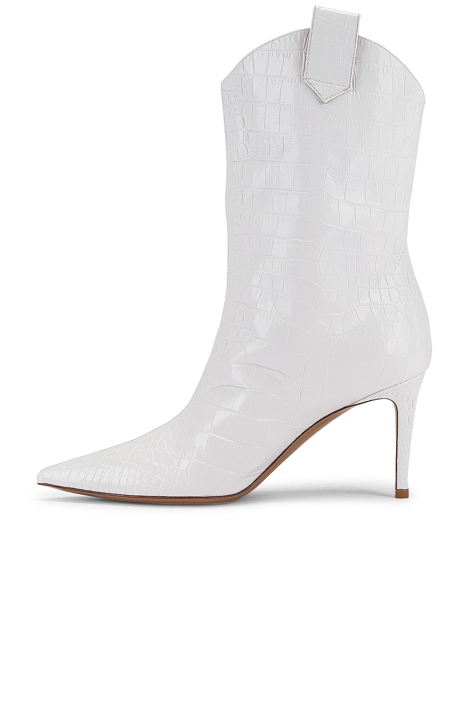 Image 5 of Alexandre Vauthier Wayne 80 Croco Boot in Off White