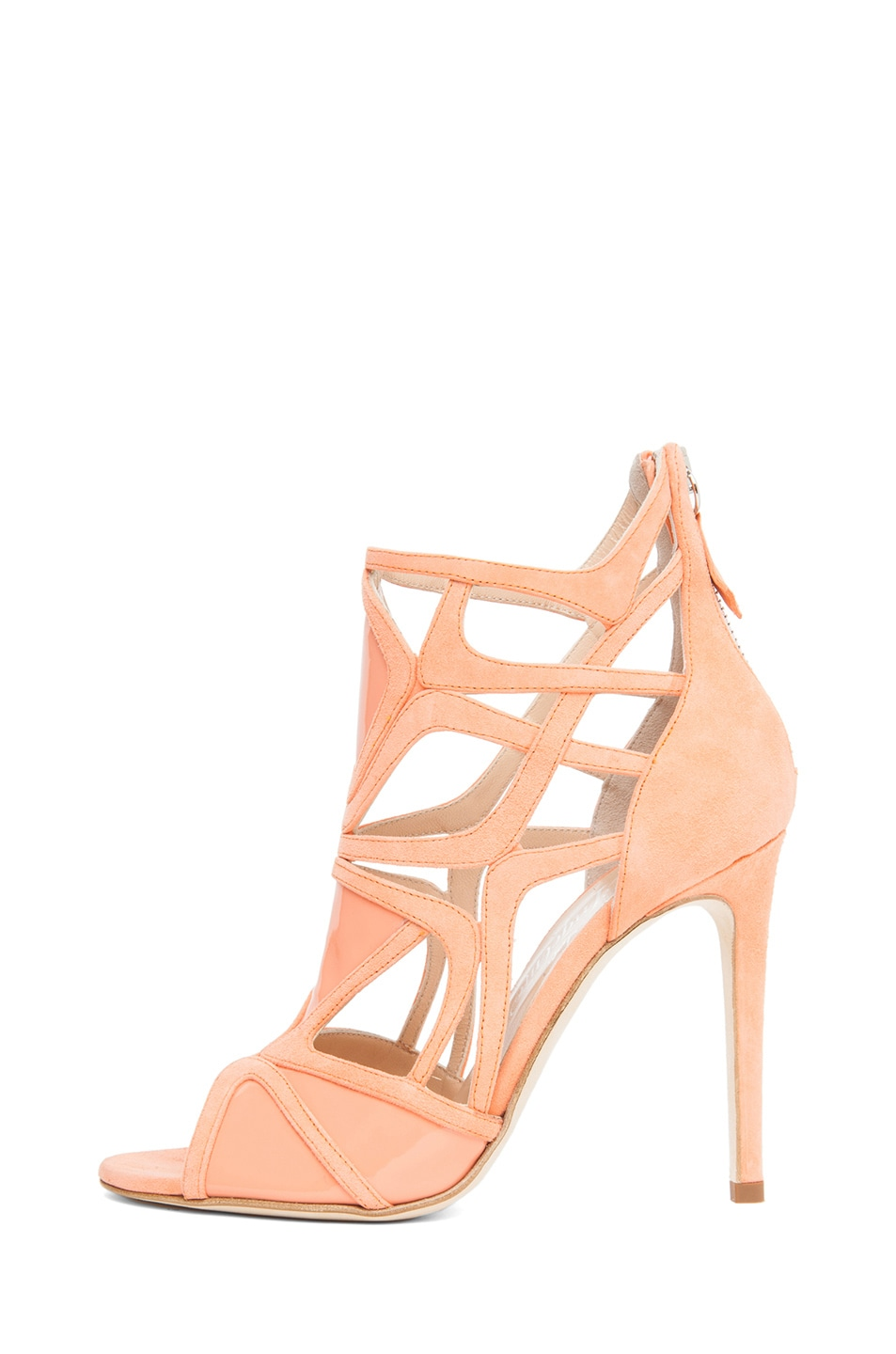 Image 1 of Alejandro Ingelmo Odessy Geometric Open Toe Bootie in Coral