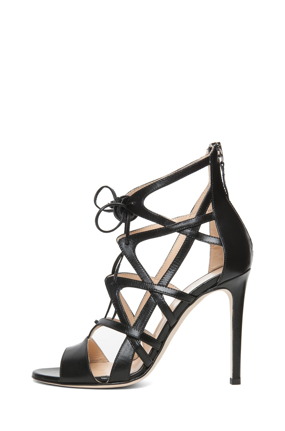 Image 1 of Alejandro Ingelmo Boomerang Calfskin Leather Lace Up Sandal in Black
