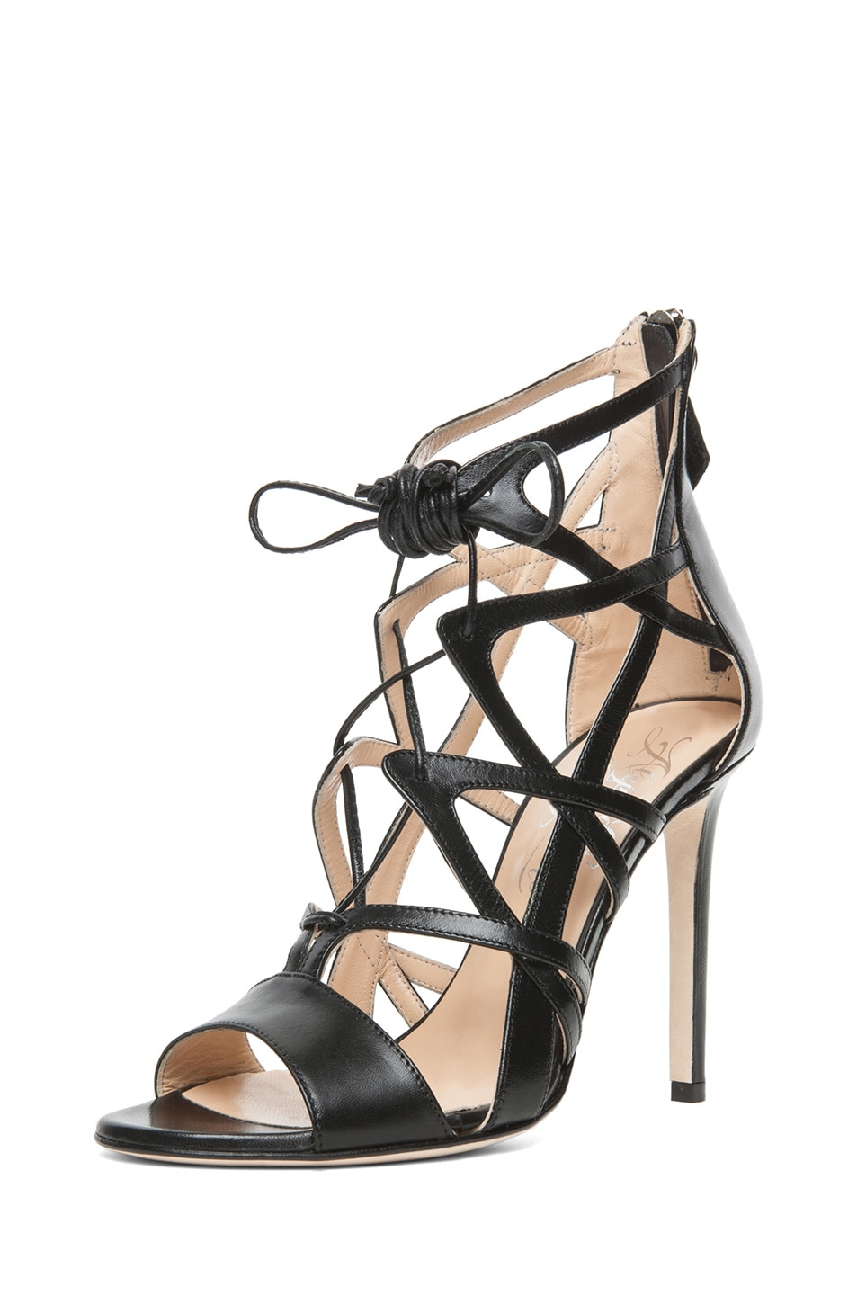 Image 2 of Alejandro Ingelmo Boomerang Calfskin Leather Lace Up Sandal in Black