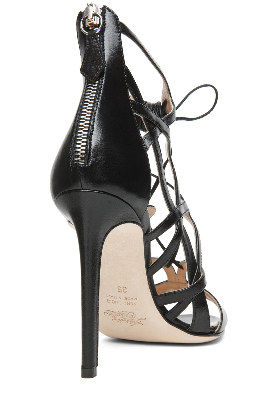 Image 3 of Alejandro Ingelmo Boomerang Calfskin Leather Lace Up Sandal in Black