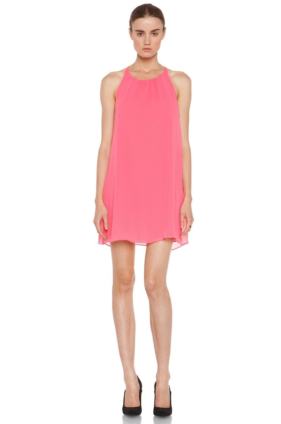 Image 1 of Alice + Olivia Peggy Trapeze Hem Tank Dress in Neon Pink